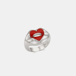 HEART QUEEN RED LIP SILVER RING