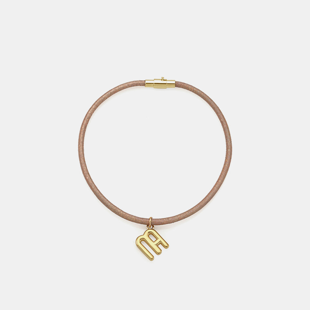 SIGNATURE GLITTER LEATHER ANKLET - BEIGE