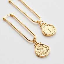 Load image into Gallery viewer, MAMA DOUBLE OWL COIN EARRINGS - LONG STICK