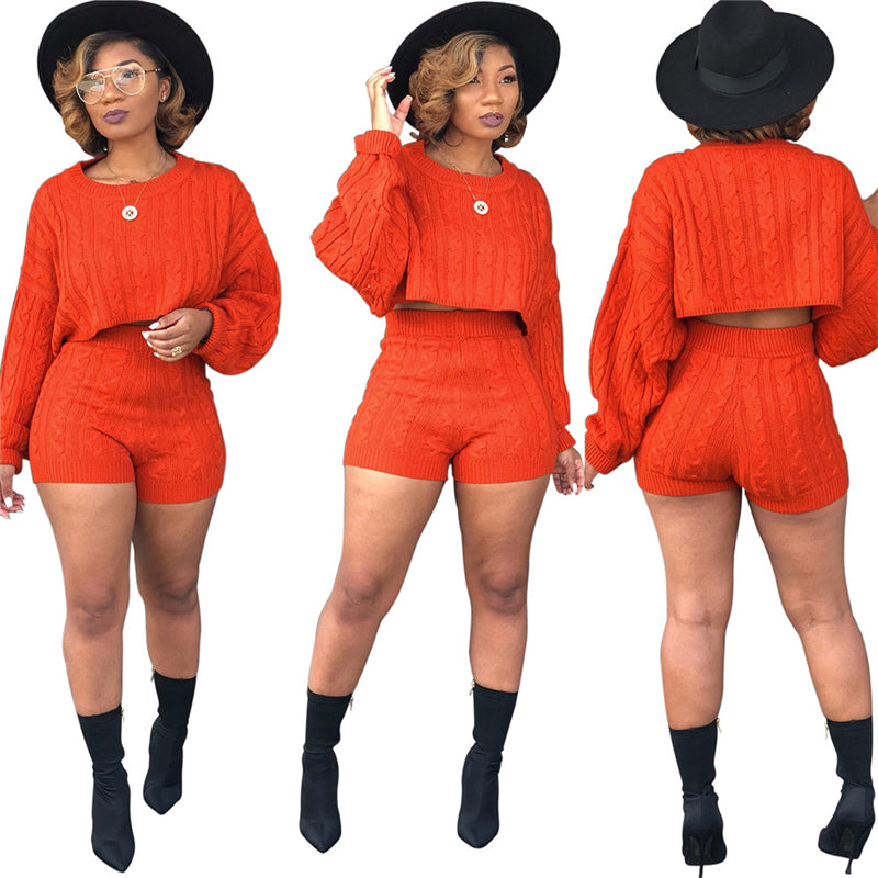 Women Knitted Sweater Two Piece Set