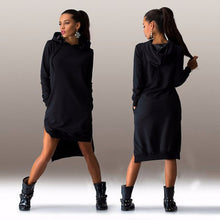 Load image into Gallery viewer, Asymmetrical Hooded Dress