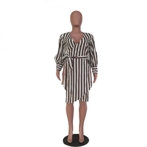 Sexy Striped Shirt Dress W/ Sashes & Side High Splits