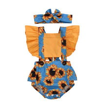 Load image into Gallery viewer, Baby girl rompers with head bow