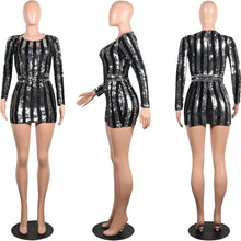 Load image into Gallery viewer, Long Sleeve Mini Sequin Dress