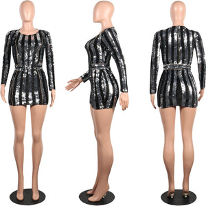 Long Sleeve Mini Sequin Dress