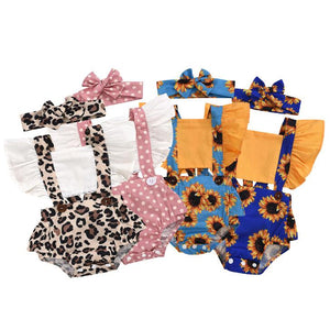 Baby girl rompers with head bow