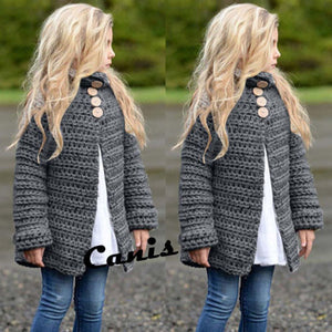 Toddler Girls Long Sleeve Solid Button Knitted Sweater Cardigan