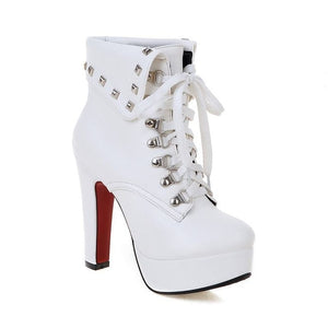 WETKISS  Thick High Heels Rivets Lace Up Ankle Boots