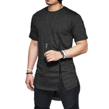 Load image into Gallery viewer, Men's Asymmetrical Zippered Side Hip-Hop Style Tee