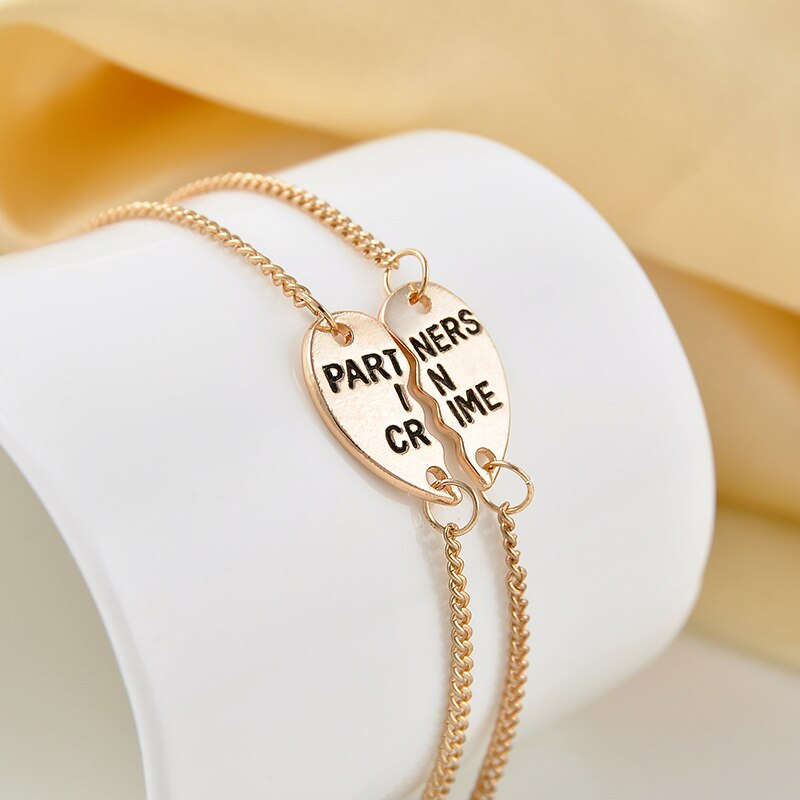 Elegant Partners In Crime Heart Bracelet