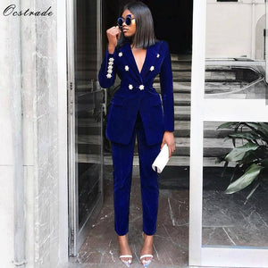 Ocstrade Summer Sets for Women 2020 New Navy Blue V Neck Long Sleeve Sexy 2 Piece Set Outfits High Quality Two Piece Set Suit