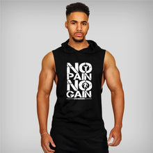 Load image into Gallery viewer, No Pain No Gain Hooded Workout Shirt
