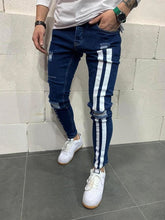 Load image into Gallery viewer, Men black Stretchy Jeans Side striped Design Fashion Letter embroidered Skinny Jeans For Men