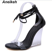 Load image into Gallery viewer, Women Peep Toe Transparent Lace Tie Wedge Heel