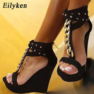 New Gladiator Women Chain Platform Wedges