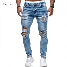 Load image into Gallery viewer, European and American style Men's Fashion Jeans Casual skinny Straight Ripped