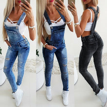 Load image into Gallery viewer, Women's Broken Hole Jeans Jumpsuit