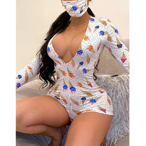 2020 Hot Sale Women Sexy Stretchy Pajamas W Mask