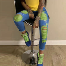 Load image into Gallery viewer, High Waisted Stretch Skinny Yellow Ripped Jeans