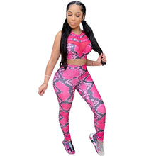Load image into Gallery viewer, Snakeskin Print 2 Piece Crop Top and Pants Sporty Active Wear