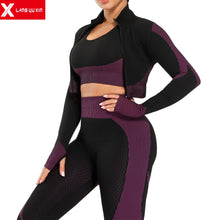 Load image into Gallery viewer, Active Wear 3 Pcs Set w/ Jacket