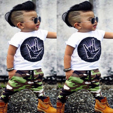 Load image into Gallery viewer, Boys Summer Short Sleeve T-shirt Camouflage Pants 2-piece Set