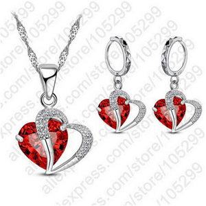 Double Love Heart Crystal Pendant Necklace Set