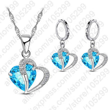Load image into Gallery viewer, Double Love Heart Crystal Pendant Necklace Set