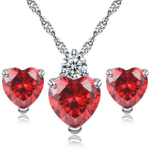 Red Love Heart Charm Necklace Set
