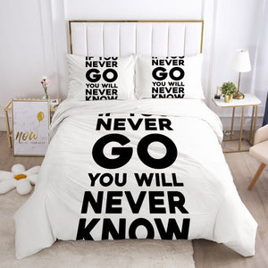 3D White Letter Bedding Queen Duvet Cover Set