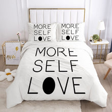 Load image into Gallery viewer, 3D White Letter Bedding Queen Duvet Cover Set