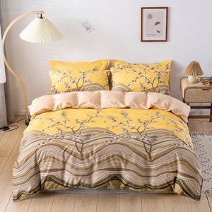 Fashion Brand Coffee Letter Printed Bedding Set