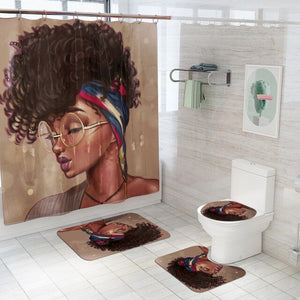African American Women Fabric Shower Curtain Set