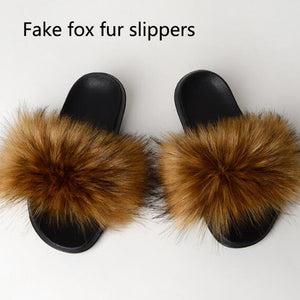 Children's Real Fox Fur Slides