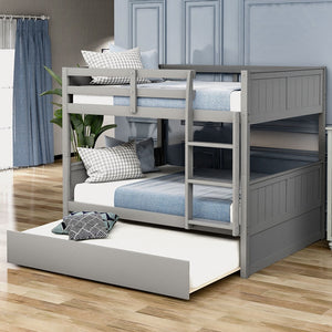 Full Over Full Bunk Bed with Twin Size Trundle