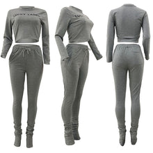 "Load image into Gallery viewer, ""Lucky Label"" Stacked Sweatpants Set"