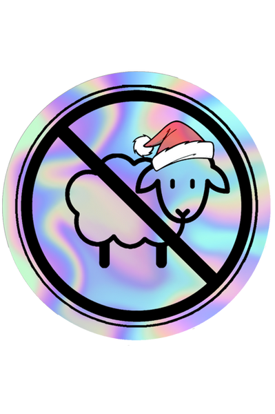 Santa Hat No Sheep Holographic Sticker