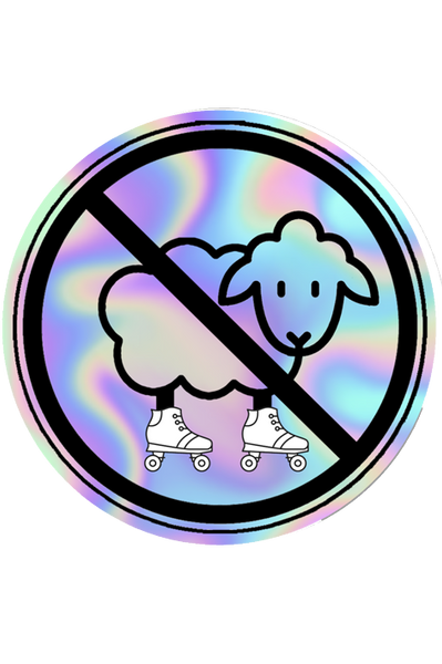 Rollerskating No Sheep Holographic Sticker