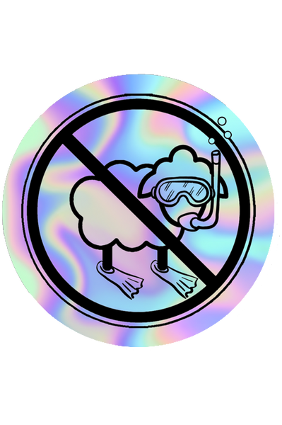 Snorkeling No Sheep Holographic Sticker