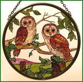 "Hand Painted Stained Glass Roundel - Barn Owls (6"")"
