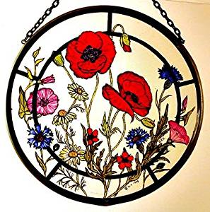 "Hand Painted Stained Glass Roundel - Cornfield Poppies (6"")"