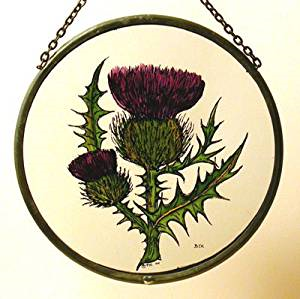 "Hand Painted Stained Glass Roundel - Thistle (6"")"