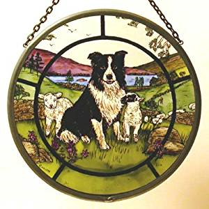 "Hand Painted Stained Glass Roundel - Collie Dog and Lambs (6"")"