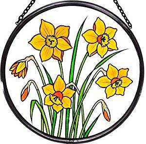 "Hand Painted Stained Glass Roundel - Daffodils (6"")"