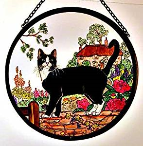 "Hand Painted Stained Glass Roundel - Cottage Garden Cat (6"")"