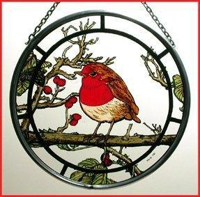 "Hand Painted Stained Glass Roundel - Fat Robin (6"")"