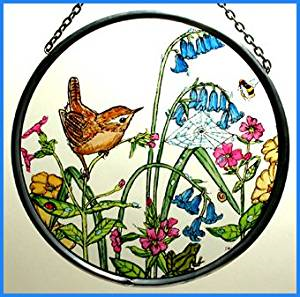 "Hand Painted Stained Glass Roundel - Wren in Bluebells (6"")"