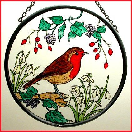 "Hand Painted Stained Glass Roundel - Robin in Snowdrops (6"")"