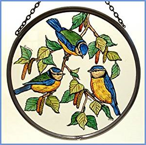 "Hand Painted Stained Glass Roundel - Blue Tits (6"")"
