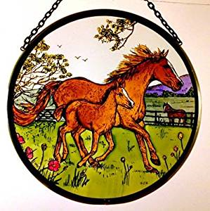 "Hand Painted Stained Glass Roundel - Horse and Foal (6"")"